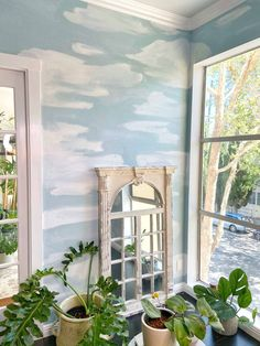 Tons of natural light, indoor plants, and a painted cloud mural make this condo living room truly special. Get tips for painting your own and decorating with greenery now! Best Blue Paint Colors, Best White Paint, Wall Paint Colors, Room Paint, White Paints, Blue Plants, Room With Plants, Hanging Plants, Indoor Plants