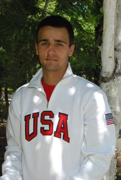 USA Sweatshirt in white, quarter zip, cadet style. Available on www.love-this-stuff.com just $29.95!