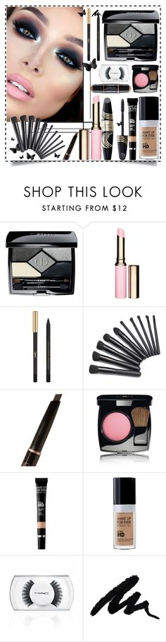 """bold eyes"" by teto000 ❤ liked on Polyvore featuring beauty, Christian Dior, Clarins, Max Factor, Yves Saint Laurent, Anastasia Beverly Hills, Chanel, MAKE UP FOR EVER, MAC Cosmetics and smokeyeyes"