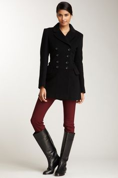 Black Peacoat  Burgundy Pants  Black leather boots(perhaps a bit less wide)