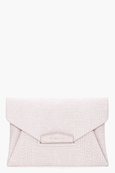 GIVENCHY Grey Croc Embossed Envelope Clutch