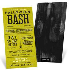Choose from four different tints for these kraft-paper looking Halloween invitations to give your party theme some color. #halloween #halloweeninvitations #halloweenparty #peartreegreetings