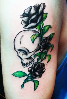 Skull Rose Tattoo By Brittneyhell
