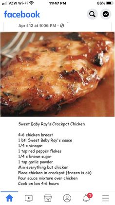 Sweet Baby Ray's Crockpot Chicken Crockpot Dishes, Crock Pot Slow Cooker, Crock Pot Cooking, Slow Cooker Recipes, Cooking Recipes, Crockpot Meals, Cooking Ideas, Homemade Baby Foods, Baby Food Recipes