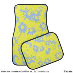 Blue Cone Flowers with Yellow Background Car Mat Available on more products, type in the name of this design in the search bar on my Zazzle Products page to see them all!  #cone #daisy #shasta #calendula #blue #yellow #art #abstract #floral #flower #petunia #car #mat #auto #automotive #accessory #accessories #gear #planet #nature #earth #plant #organic #buy #sale #zazzle