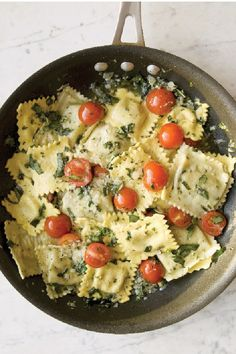 Cheese Ravioli with Tomato & Basil – Serve up tasty cheese ravioli for three in just 15 minutes—using frozen pasta and a quick-to-make sauce with tomatoes, basil, and shaved Parmesan cheese.