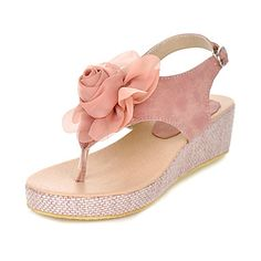 Leatherette Wedge Heel Sandals With Buckle / Flower Party/Evening Shoes (More Colors)