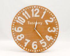 Vintage clock -Tuscany - pseudo vintage birch clock hand painted  native terracota