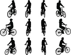 Vectores libres de derechos: People on Bicycles