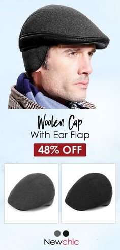 Ear Flaps Windproof Beret Hat Outdoor Fleece Lining Warm Forward Cap Mens  Beret Hat 4669e6053c12