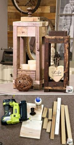 22 Most Simple and Beautiful Reclaimed Wood Christmas Decorations – Christmas DIY - Decor - Cards Into The Woods, Wooden Lanterns, Diy Candle Lantern, Dyi Lanterns, Decorative Lanterns, Large Lanterns, Diy Holz, Diy Wood Projects, Reclaimed Wood Projects