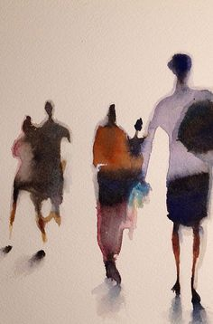 Serie on the subject of the blur, different perception of everyday scenes. Watercolor Art, Art Painting, Figure Painting, Abstract Painting, Painting Inspiration, Painting, Illustration Art, Art Inspiration, Figurative Art