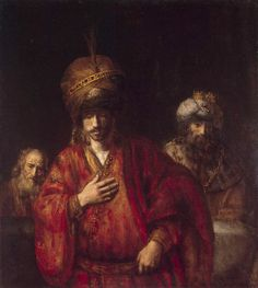 Haman Recognizes his Fate - Rembrandt.  c. 1665.  Oil on canvas.  127 x 117 cm.  The State Hermitage Museum, St. Petersburg, Russia.