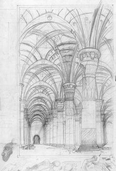Moria sketch by Alan Lee
