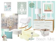 """""""Beech Mint"""" Nursery Theme by Spaces for Dreaming - plus silver/gray... Aahhh!! Add coral if baby comes out a girl"""