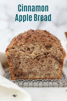 Cinnamon Apple Bread is a moist and flavorful quick bread recipe, loaded with shredded apples and a cinnamon sugar streusel. #applebread #quickbreadrecipe #applerecipe