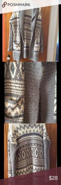 Abercrombie & Fitch long fuzzy cardigan sweater Abercrombie & Fitch Long fuzzy cardigan, worn, in good condition. Size s/xs Sweaters Cardigans