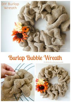 Fall Wreath: Burlap Bubble Wreath Tutorial. Easy easy easy wreath! #fall #wreath