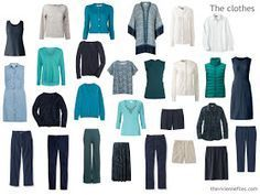 capsule wardrobe in navy, teal and white