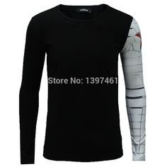 Find More T-Shirts Information about 2016 Real Sale No Swag Cool Adult Long Sleeve T  Shirt Iron Arm Captain America Costume The Winter Soldier Muscular Build,High Quality shirt brand,China soldier nutcracker Suppliers, Cheap shirt embroidery from ZOMARZZ on Aliexpress.com