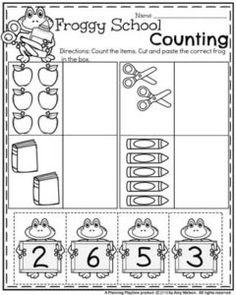 Preschool Counting Worksheets for Back to School - Cut and Paste. Numbers Preschool, Preschool Lessons, Preschool Kindergarten, Preschool Learning, Kindergarten Worksheets, Math Lessons, Preschool Activities, Teaching, School Themes