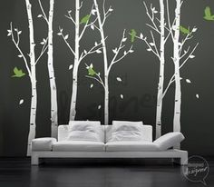 Vinyl Wall Decal Sticker Art Birds In The Urban Forest 101in Tall 6 Leafy Trees Large Dd1014