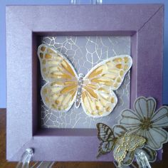 Shadow box. Stampin up watercolour butterflies, flower shop.