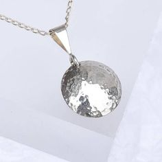 Round Silver Pendant Hammered Sterling Silver Domed Pendant