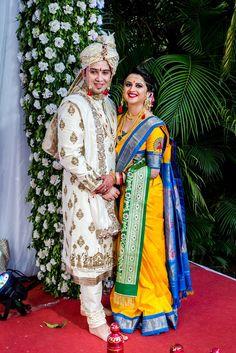 Check out their Marathi-Punjabi fusion wedding at The O Hotel Pune Marathi Bride, Marathi Wedding, Punjabi Bride, Punjabi Wedding, Wedding Couple Poses, Wedding Couples, Wedding Bride, Wedding Blog, Romantic Couples