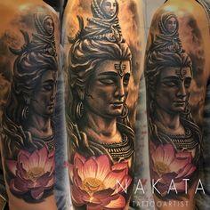 Buddha tattoo by Nakata. Limited availability at Redemption Tattoo Studio. Buddha Tattoo Design, Shiva Tattoo Design, Buddha Tattoos, Mandala Tattoo Design, Body Art Tattoos, Sleeve Tattoos, Kali Tattoo, Nepal Tattoo, Mahadev Tattoo