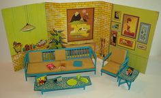 Vintage Barbie Go Together Furniture w/Backdrop++,RARE Mine was orange and yellow...only if I kept it!