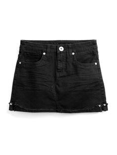 GUESS Kids Girls Overdye Denim Beverly Skirt, BLACK (10)