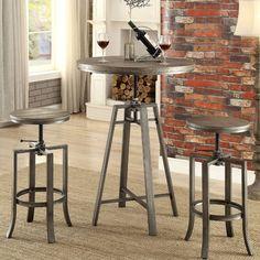 Industrial Round Adjustable Height Pub Table Stool Set Dining Bar Metal Hardware #CorkscrewIndustrial #ContemporaryRusticIndustrialMidCentury