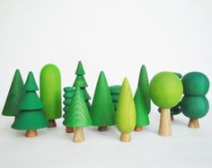 BIG Wooden Tree Set 14 pcs Nature table Tree by WoodenCaterpillar