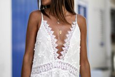 White dress in Cadaqués Asos, Lace Wedding, Wedding Dresses, Camisole Top, White Dress, Tank Tops, My Style, Women, Fashion