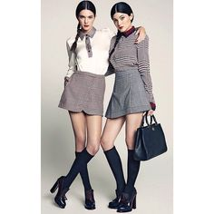 Striking poses in striking plaid -@Kylie Jenner and @Kendall Jenner look stunning in @marieclaire_latam #tommyhilfiger