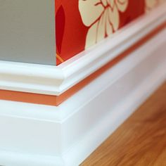Like it without the colour in it. Transform plain baseboards into distinctive customized mouldings that add a dash of color. Moldings And Trim, Moulding, Baseboard Molding, Crown Molding, Bathroom Baseboard, Wood Baseboard, White Baseboards, Do It Yourself Inspiration, Diy Home Improvement