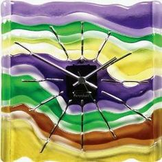 Fused Art Glass Wall Clock Maestro Home & Kitchen