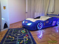 Mavi Arabalı Yatak - Kapısı Açılır Araba Yatak - Sertifikalı Araba Yatak