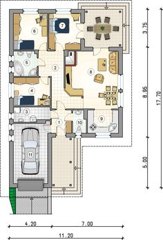 DOM.PL™ - Projekt domu AT Tip Top Bis CE - DOM AT3-35 - gotowy koszt budowy Model House Plan, House Plans, Tip Top, 2 Bedroom House, Single Bedroom, Ground Floor Plan, Garage House, New Homes, Floor Plans