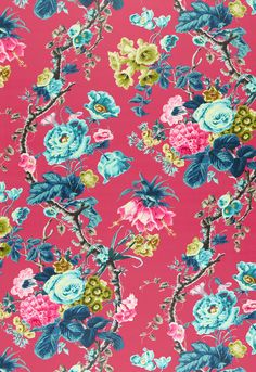 175501 Elizabeth Multi, Rouge by Schumacher Fabric Floral Fabric, Floral Prints, Chinoiserie Motifs, Pretty Patterns, Fabric Wallpaper, Fabric Patterns, Flower Patterns, Printable Wall Art, Fabric Design