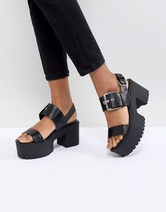 57a88b832b1 Bershka Chunky Buckle Flatform Sandals at asos.com