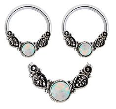 Pair of Sparkling Moonstone synthetic white Opal tribal leafs Hypoallergenic 316L Stainless Surgical Steel Captive bead Ring lip, belly, nipple, cartilage, tragus, septum, earring body Jewelry piercing hoop - 14 gauge 14g playful piercings http://smile.amazon.com/dp/B00MTCYB2U/ref=cm_sw_r_pi_dp_zI-iub0RZPDM0