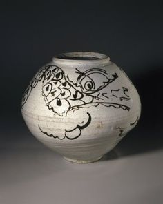 Korean Dragon Jar from the Joseon Dynasty, 17th Century, Porcelain with iron-painted decoration under clear glaze; Brooklyn Museum
