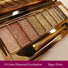 9 Cores Diamante Brilhante Sombra Da Composição Nu Paleta Smoky Compo o Jogo Da Sombra de Olho Maquiagem Profissional Cosméticos Com Escova alishoppbrasil