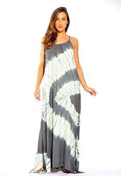 c1f38d9cee5 Riviera Sun Tie Dye Spaghetti Strap Maxi Dress at Amazon Women s Clothing  store