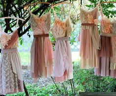 love the funkiness of these bridesmaid dresses. now they just need to be yellow & gray