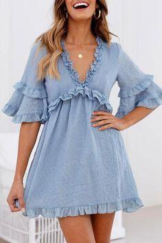 Depway Daily V Neck Ruffle Design Mini Dress Cute Dresses, Casual Dresses, Fashion Dresses, Dresses With Sleeves, Summer Dresses, Sleeve Dresses, Mini Dresses, Women's Dresses, Cheap Dresses