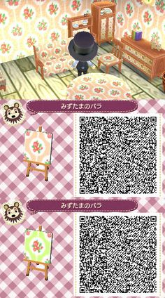animal crossing wallpaper qr codes ACNL QR Code: Floral Patterns in Blue or Pink Animal Crossing Qr Codes Clothes, Animal Crossing Game, Code Wallpaper, Pink Wallpaper, Acnl Qr Code Sol, Acnl Paths, Motif Acnl, Ac New Leaf, Happy Home Designer