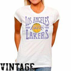 5957ba47690 Junk Food Los Angeles Lakers Ladies Team Line T-Shirt - White Lakers T Shirt
